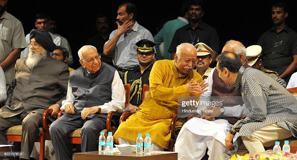 Punjab CM Parkash Singh Badal Governor of Chhattisgarh Balram Ji Dass Tandon RSS Chief Mohan Bhagwat Haryana Governor Kaptan Singh Solanki and Sanjay.