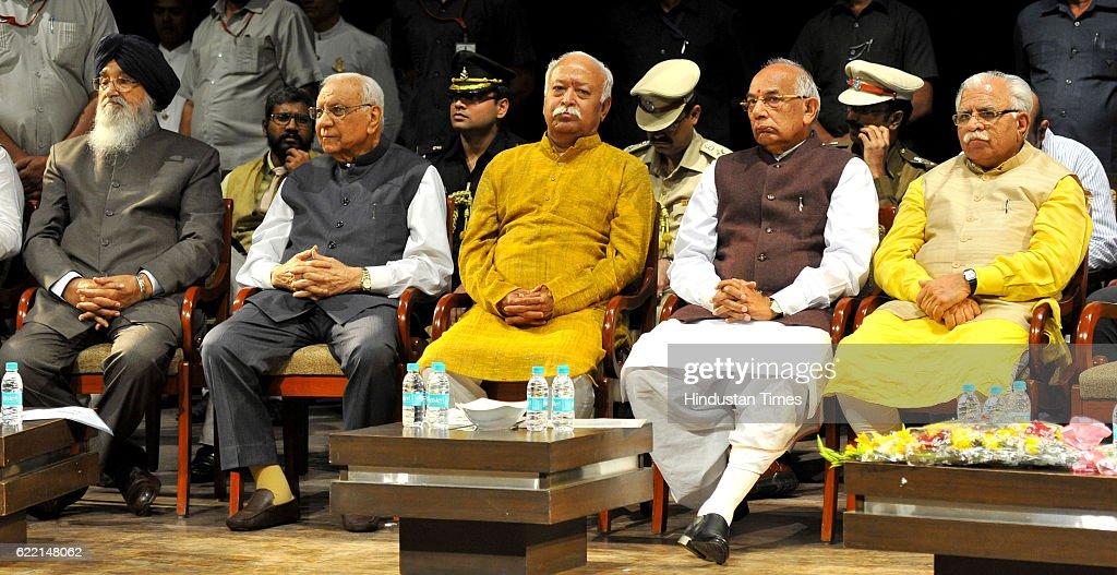 Punjab CM Parkash Singh Badal Governor of Chhattisgarh Balram Ji Dass Tandon RSS Chief Mohan Bhagwat Haryana Governor Kaptan Singh Solanki and...