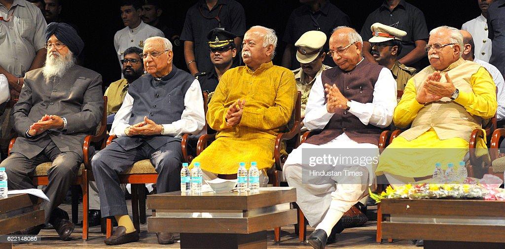 Punjab CM Parkash Singh Badal Governor of Chhattisgarh Balram Ji Dass Tandon RSS Chief Mohanrav Bhagwat Haryana Governor Kaptan Singh Solanki and...