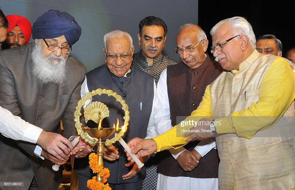 Punjab CM Parkash Singh Badal Governor of Chhattisgarh Balram Ji Dass Tandon Haryana Governor Kaptan Singh Solanki Haryana CM Manohar Lal Khattar...