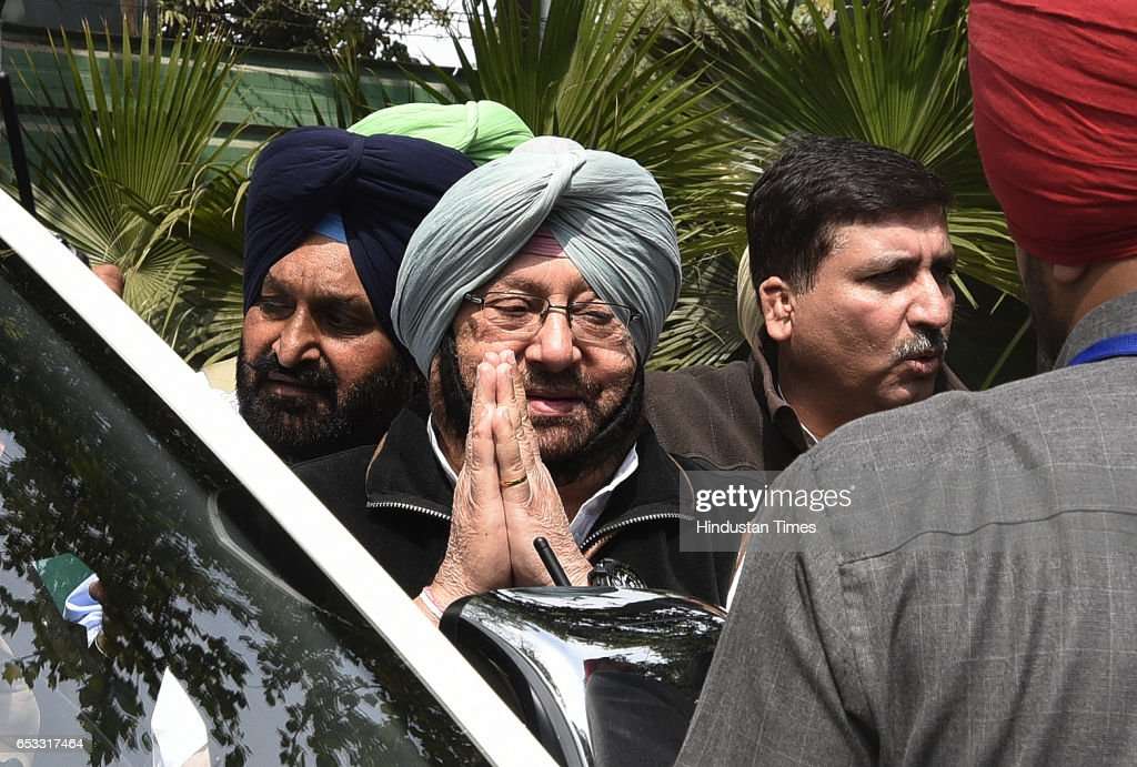 Punjab Congress chief Capt Amarinder Singh with other Congress leader talking to media persons after meeting with Congress Vice President Rahul...