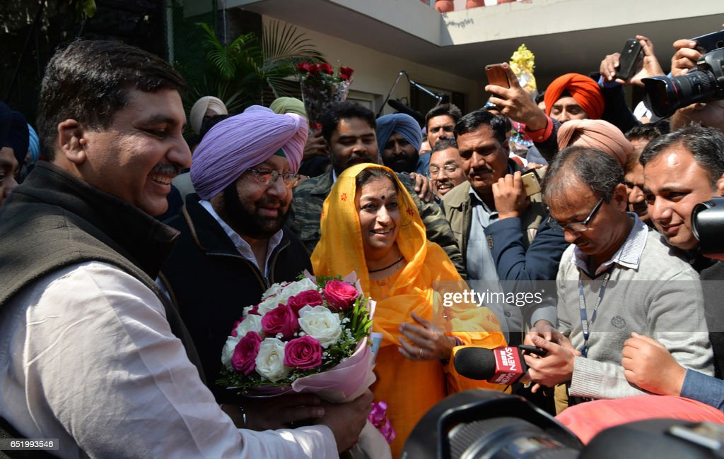 Punjab Congress president Amrinder Singh addresses the media after his victory to reclaim the Punjab chief minister position in Chandigarh on March...