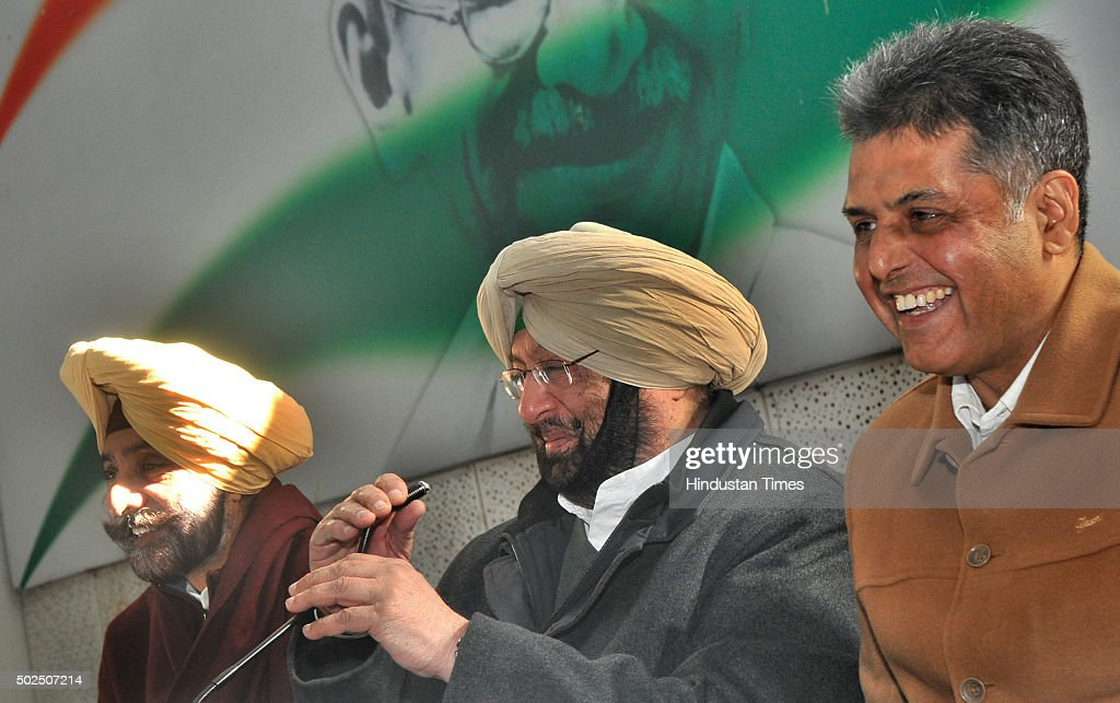 Punjab Congress President Capt Amrinder Singh along with Congress leaders Jagmeet Brar and Manish Tewari during the press conference at Punjab...