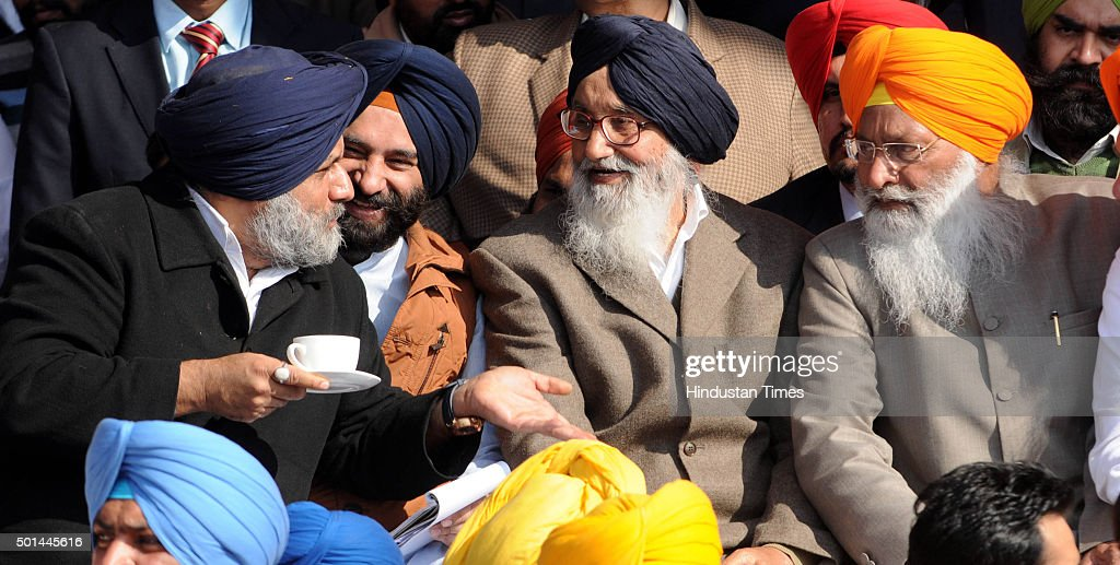 Punjab Deputy Chief Minister Sukhbir Singh Badal and Punjab Chief Minister Parkash Singh Badal during the Sadbhawna Rally at new Polo Ground near...
