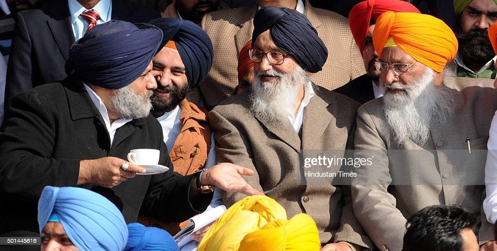 Punjab Deputy Chief Minister Sukhbir Singh Badal and Punjab Chief Minister Parkash Singh Badal during the Sadbhawna Rally at new Polo Ground near...