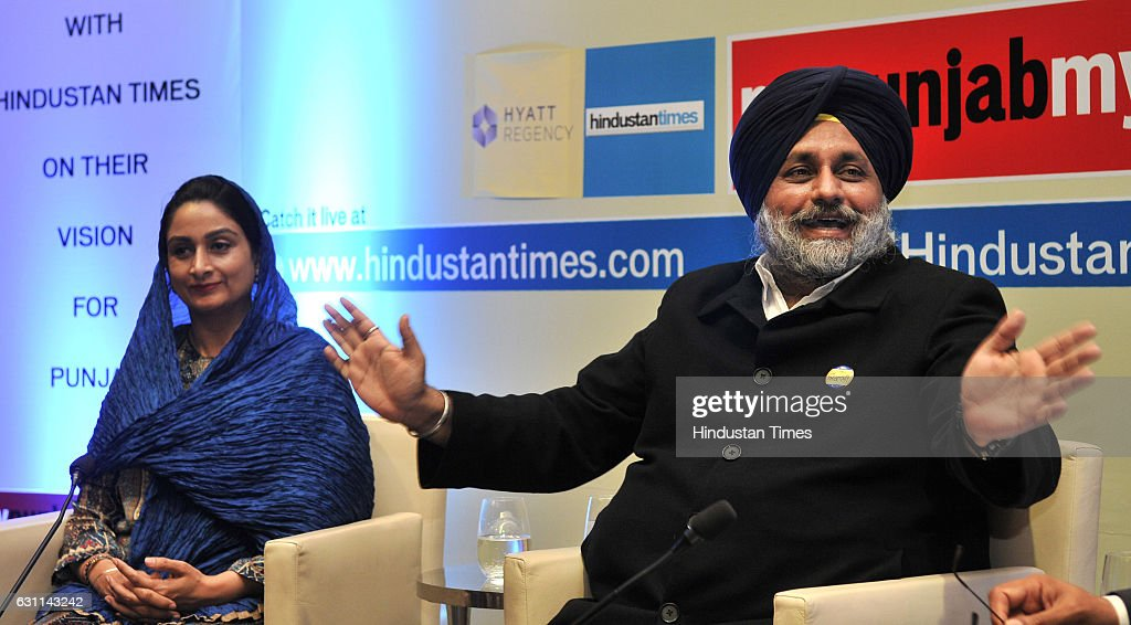 Punjab Deputy Chief Minister Sukhbir Singh Badal and Union Minister Harsimrat Kaur Badal during the Power Couple @HT organised by Hindustan Times in..