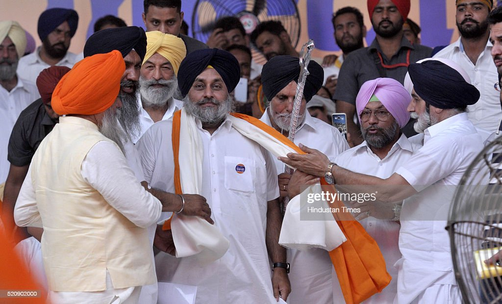 Punjab Deputy Chief Minister Sukhbir Singh Badal during the SAD Rally at Talwandi Sabo on the occasion of Baisakhi on April 13 2016 in Bathinda India