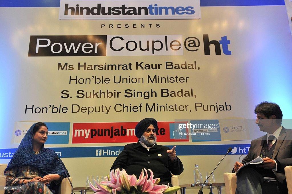 Punjab Deputy Chief Minister Sukhbir Singh Badal Union Minister Harsimrat Kaur Badal in conversation with Hindustan Times Punjab Resident Editor...