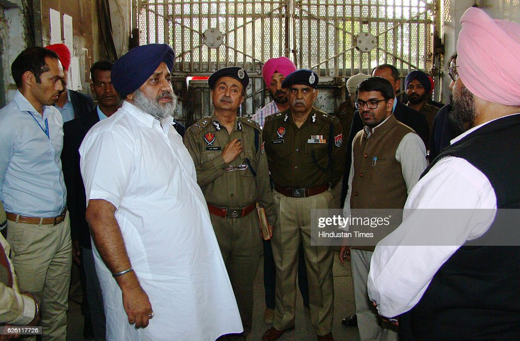 Punjab Deputy Chief Minister Sukhbir Singh Badal visits the Nabha jail in Patiala from where one militant and 4 other inmates escaped at Nabha on...