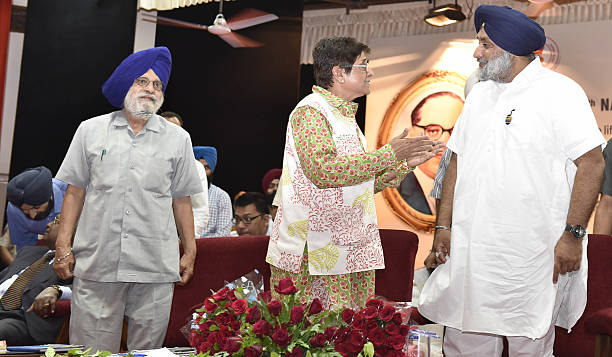 Punjab Deputy CM Sukhbir Singh Badal Puducherry Lt Governor Kiran Bedi and Charanjit Singh Atwal Speaker Punjab Vidhan Sabha during the 4th National..