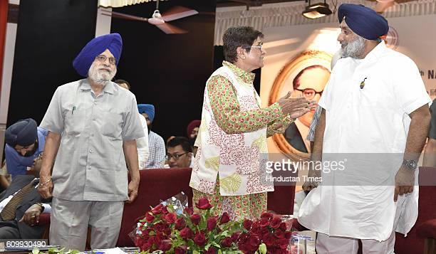 Punjab Deputy CM Sukhbir Singh Badal Puducherry Lt Governor Kiran Bedi and Charanjit Singh Atwal Speaker Punjab Vidhan Sabha during the 4th National...