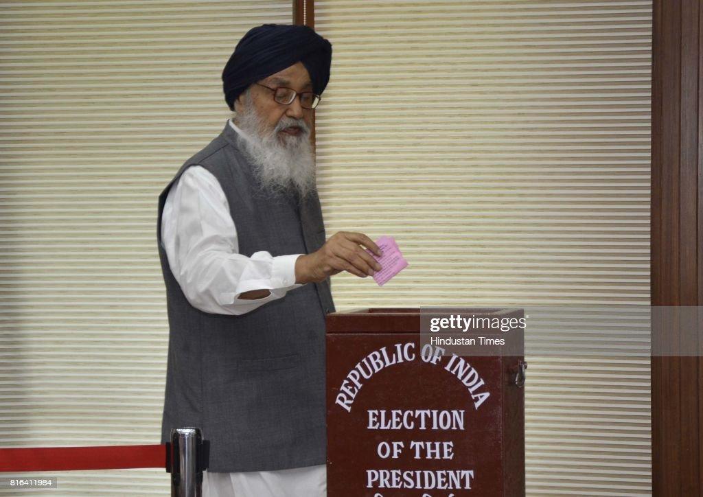Punjab former CM Parkash Singh Badal during the presidential election at Punjab Vidhan Sabha on July 17 2017 in Chandigarh India Approx 99% voting...