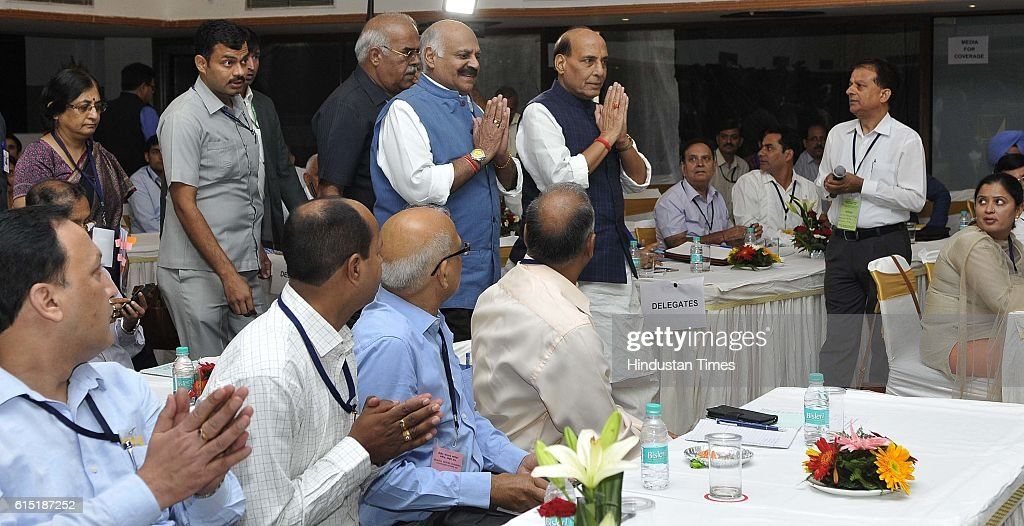 Punjab Governor VP Singh Badnore and Union Home Minister Rajnath Singh during the inauguration of Regional Editors Conference at Hotel Mount View...