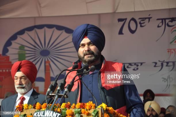 Punjab Local Bodies Minister Navjot Singh Sidhu addresses during the 70th Republic Day celebrations at Guru Nanak Stadium on January 26 2019 in...