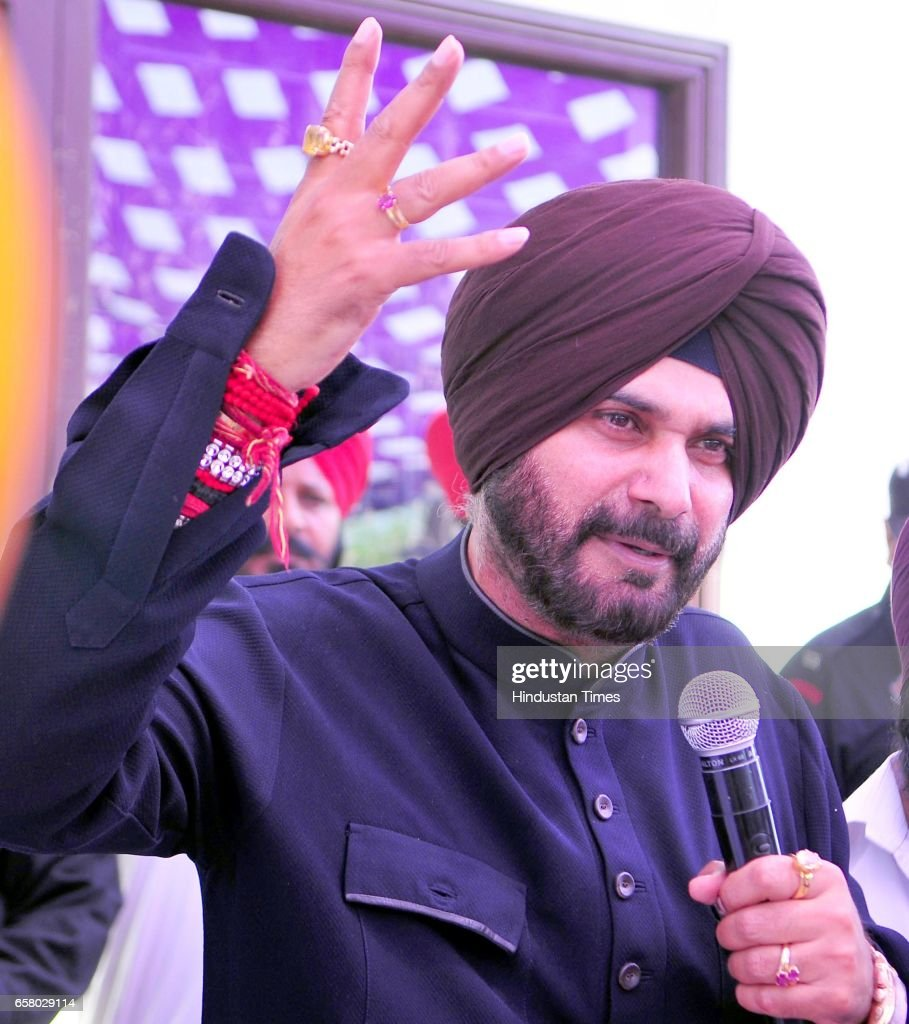 Punjab Local Bodies Minister Navjot Singh Sidhu addressing during the thanksgiving visit to his constituency at Village Mudhal on March 26 2017 in...