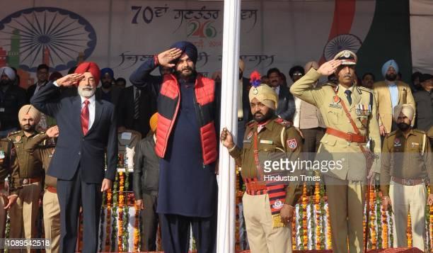 Punjab Local Bodies Minister Navjot Singh Sidhu during flag hoisting ceremony of the 70th Republic Day celebrations at Guru Nanak Stadium on January...
