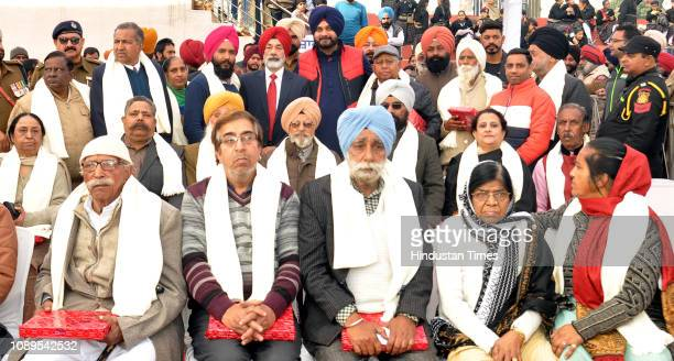 Punjab Local Bodies Minister Navjot Singh Sidhu with freedom fighters and their family members after honoring them during the 70th Republic Day...