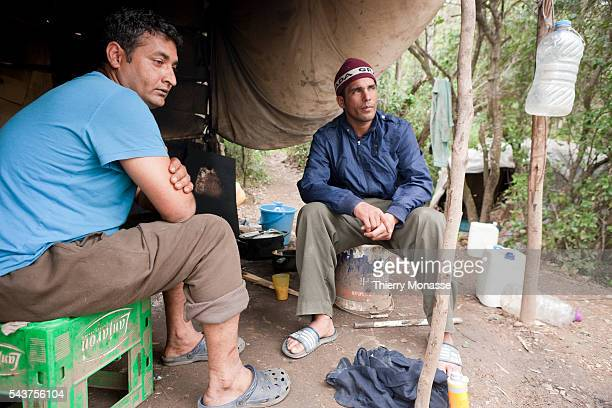 Punjab migrants in their tent near the Ceuta border fence The fence is a separation barrier between Morocco and Spain by Ceuta a city on the North...