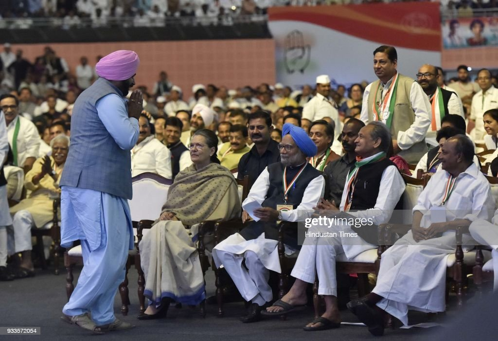 Punjab Minister Navjot Singh Sidhu takes blessing from the Former President of Indian National Congress Sonia Gandhi and Dr Manmohan Singh during the.