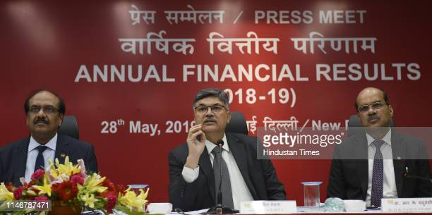 Punjab National Bank MD and CEO Sunil Mehta during the annual financial results press conference with Executive Director LV Prabhakar and Executive...