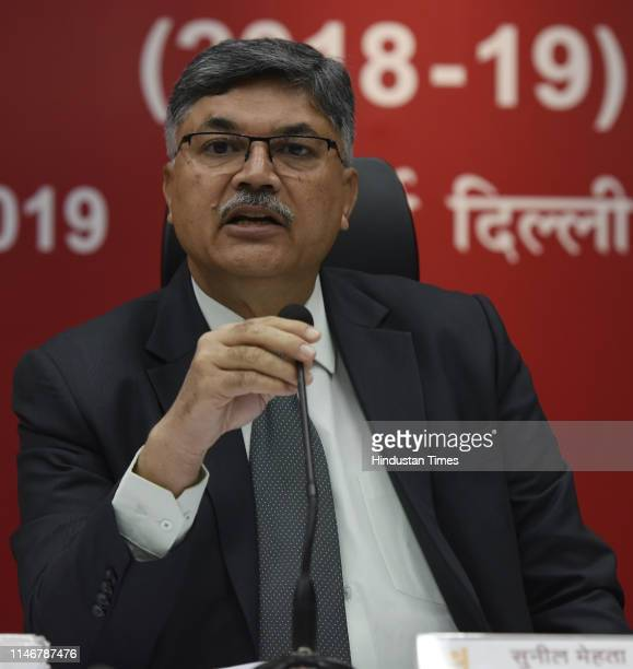 Punjab National Bank MD and CEO Sunil Mehta during the annual financial results press conference at PNB headquarters Dwarka on May 28 2019 in New...