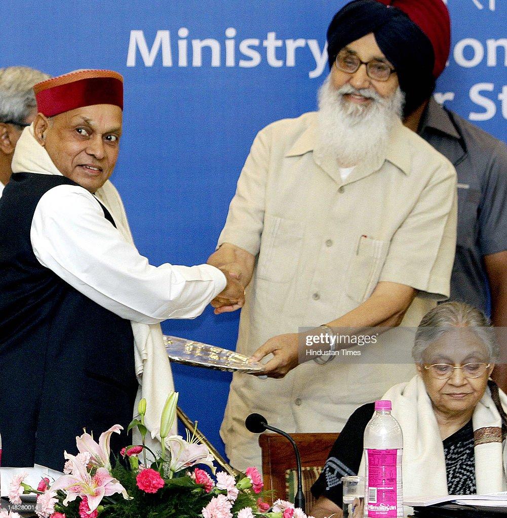 Punjab Parkash Singh Bada honor Chief Minister Himachal Pradesh Prem Kumar Dhumal during the 26th meeting of Northern Zonal Council organized by...