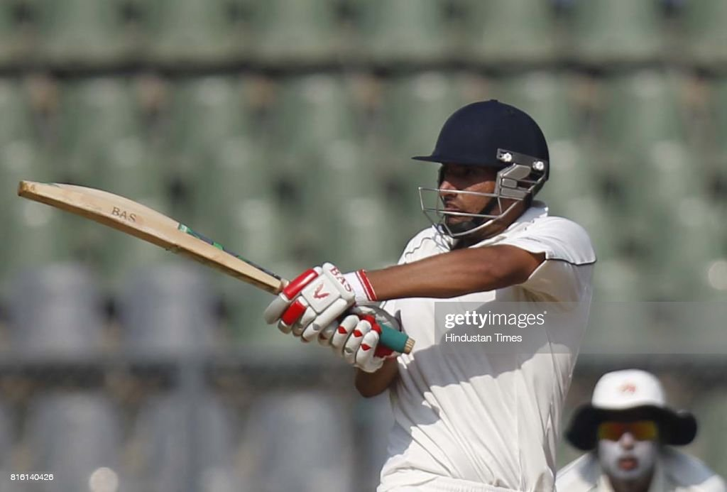 Punjab player Bipul Sharma plays a shot during the match between Mumbai and Punjab at Wankhede Stadium in Mumbai on Wednesday in .
