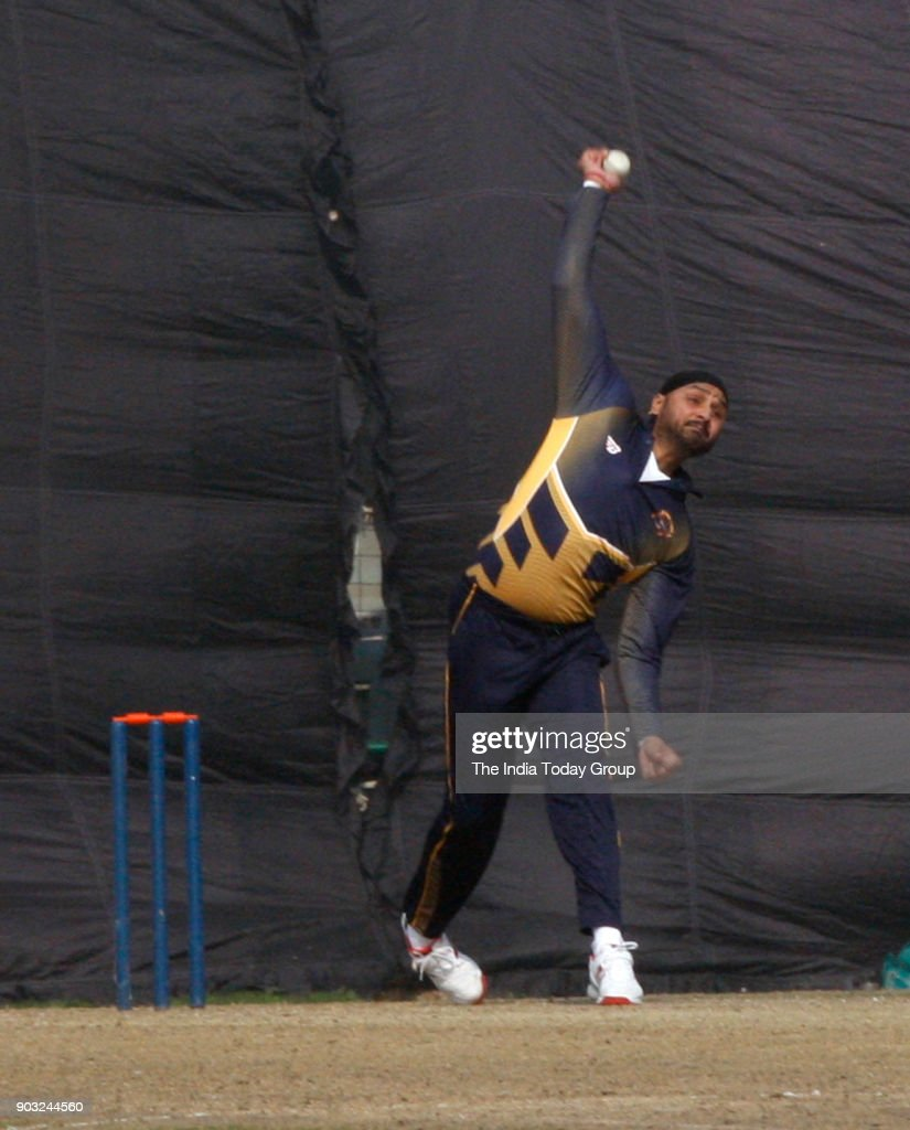 Punjab player Harbhajan Singh playing shot against Delhi vs Punjab T20 match at Feroz Shah Kotla ground in New Delhi
