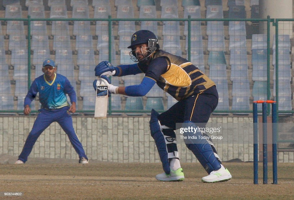 Punjab player Yuvraj Singh playing shot against Delhi vs Punjab T20 match at Feroz Shah Kotla ground in New Delhi