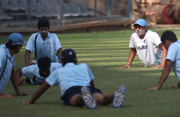 Punjab players during the practice session at Wankhede Stadium ahead of Ranji Trophy match between Mumbai and Punjab on Tuesday in Mumbai
