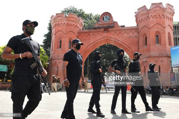 Punjab Police commando patrol in the front of Hall Gate during a governmentimposed nationwide lockdown as a preventive measure against the COVID19...