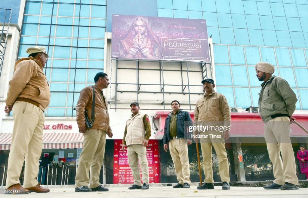 Punjab police personnel stands guard outside Suraj Chanda Tara cinema hall scheduled to screen the Bollywood film `Padmaavat` on January 25 2018 in...
