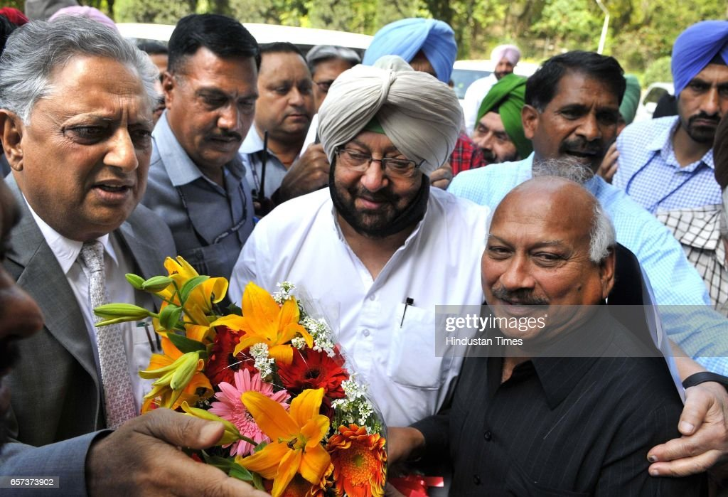 Punjab Protem Speaker Rana KP Singh Brahm Mohindra welcome to CM Capt Amrinder Singh on the first day of Punjab Vidhan Sabha session on March 24 2017.