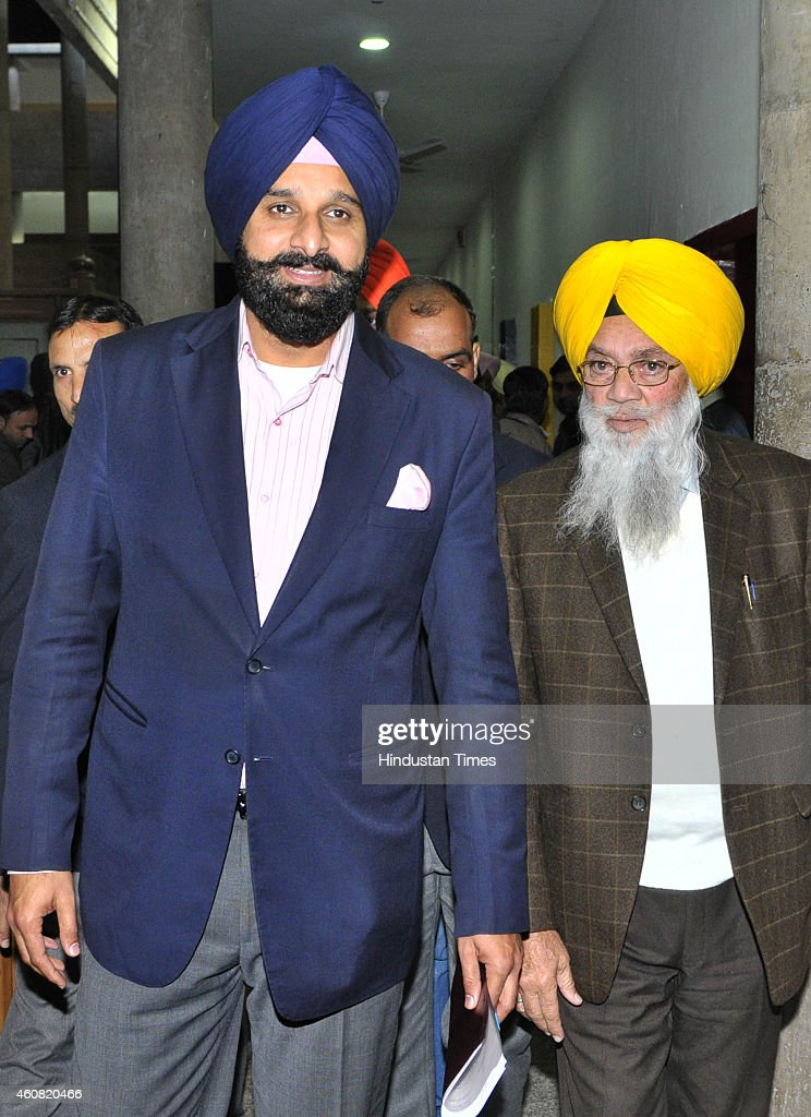 Punjab Revenue Minister Bikram Singh Majithia coming out after attending the session at Punjab Vidhan Sabha on December 24 2014 in Chandigarh India...