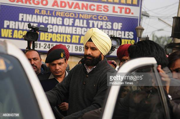 Punjab Revenue Minister entering in his vehicle after he appeared ED office with regard to a multi-million rupee international synthetic drugs racket...