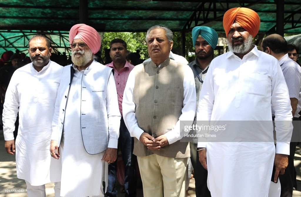 Punjab Speaker Rana KP Singh Rana Gurjit Singh and others leaders pay their last respects to Balram Das Tandon Governor of Chhattisgarh who was...