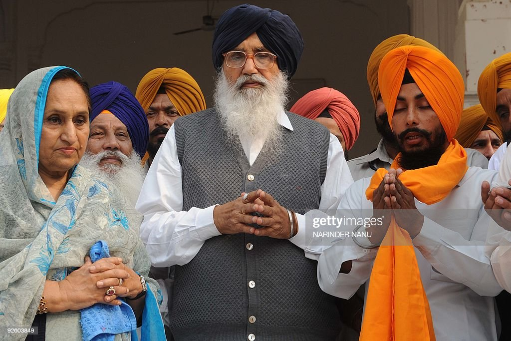 Punjab State Chief Minister Prakash Singh Badal C And His Wife Surinder Kaur
