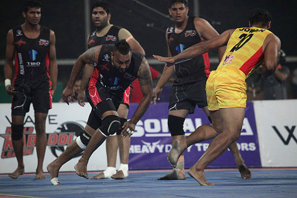 Punjab Thunder compete against Yo Yo Tigers during the 2014 World Kabaddi league tournament at Punjab Agricultural University Hockey Stadium on...