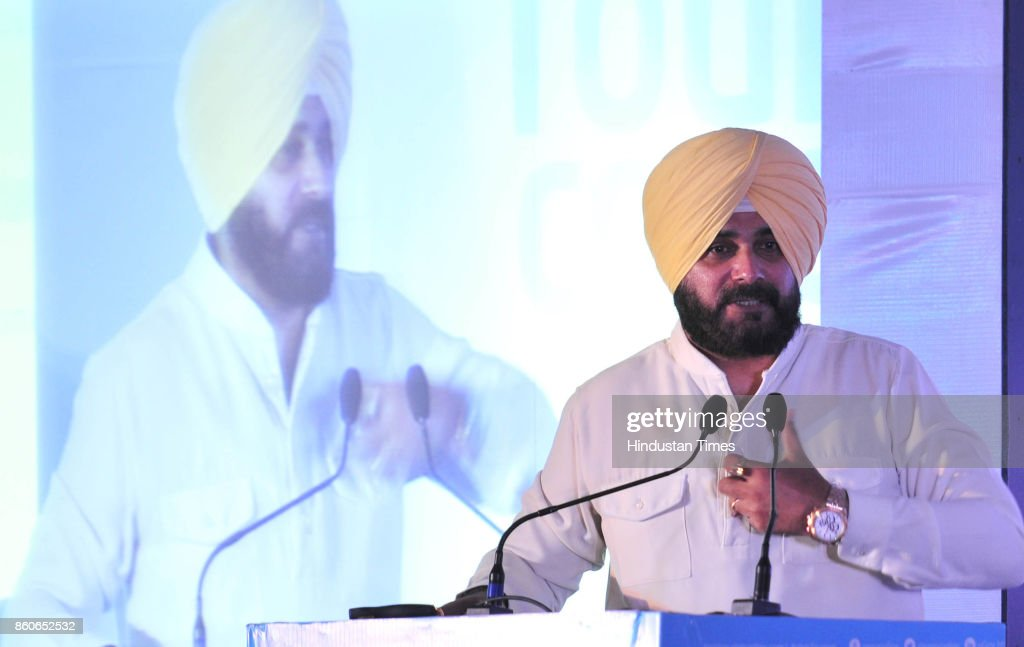 Punjab Tourism Minister Navjot Singh Sidhu during the National Tourism Conclave at Hotel Taj on October 12 2017 in Chandigarh India