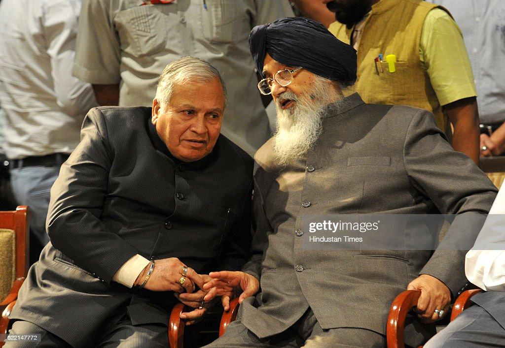 Punjab Union Minister Madan Mohan Mittal and Punjab CM Parkash Singh Badal during the birthday celebration of Balram Ji Dass Tandon at Tagore Theatre.