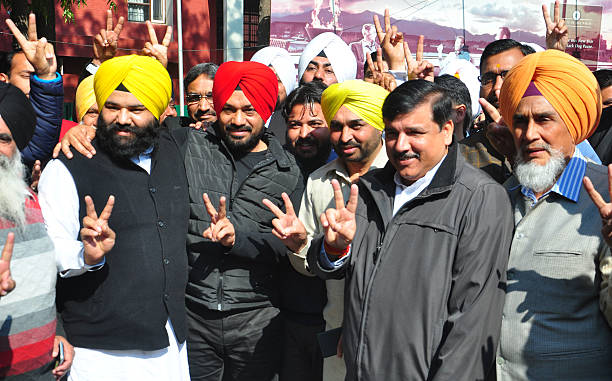 Punjabi actorcomedian Gurpreet Ghuggi joins Punjab Aam Aadmi Party in the presence of AAP leaders Sanjay Singh Bhagwant Mann and other senior state...