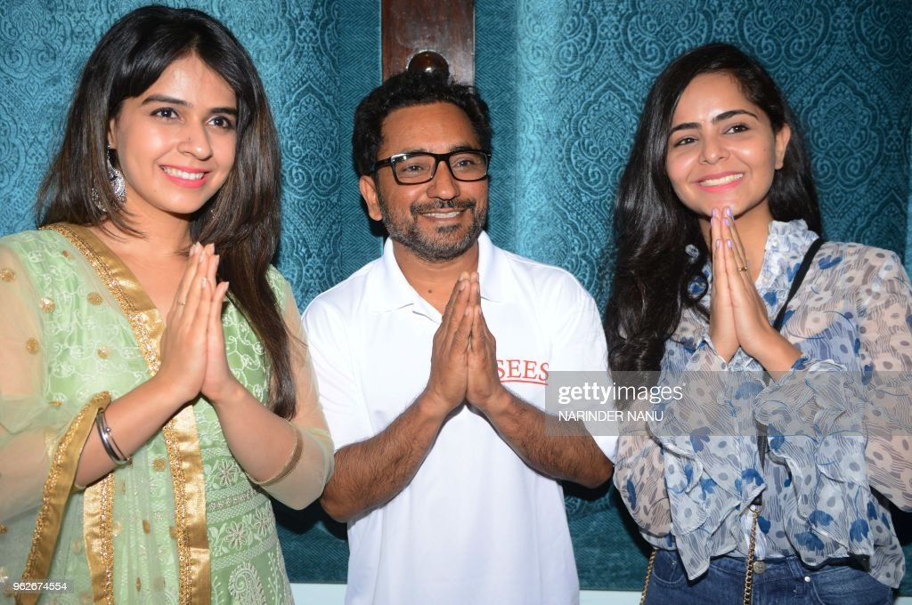 Punjabi actors Neha Pawar Rana Ranbir and Joyti Arora pose for a photograph during a promotional event for the forthcoming Punjabi film `Asees` in...