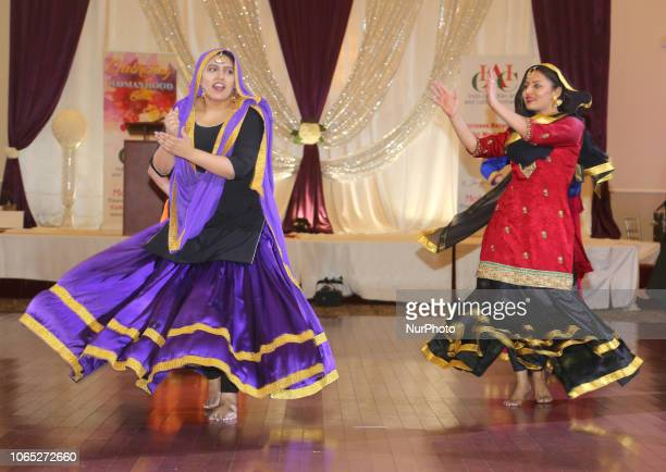 Punjabi girls perform a traditional Giddha folk dance during the 6th Annual Celebrating Womanhood Gala held in Mississauga Ontario Canada on March 24...
