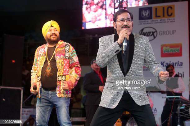 Punjabi Pop Singer Daler Mehandi and playback singer Sudesh Bhosle during Gata Rahe Mera Dil 2018 an annual cultural cum awards event at Talkatora...