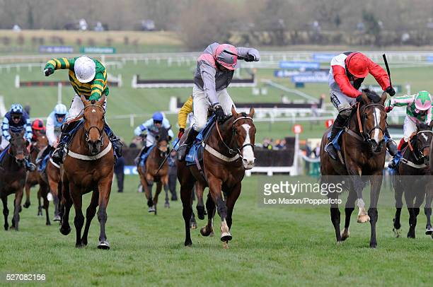 Punjabi ridden by Barry Geraghty pictured in centre on their way to win the Smurfit Kappa Champion Hurdle Challenge Trophy ahead of Celestial Halo...