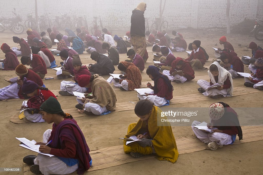 Punjabi school children sit exams in open air