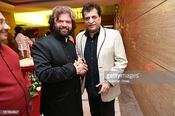 Punjabi singer Hans Raj Hans with Prem Bhatia during prewedding party of singer Daler Mehndi's daughter Ajit Kaur with Navraj Singh son of singer...
