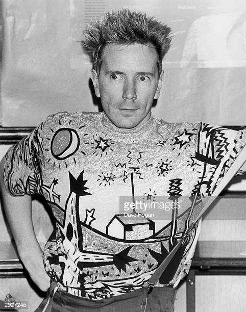 Punk and new wave singer John Lydon aka Johnny Rotten at the Hysteria II AIDS charity event at the Sadlers Wells Theater London 18th September 1989