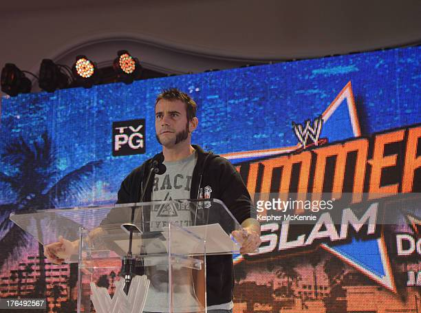 Punk arrives to the WWE SummerSlam Press Conference at Beverly Hills Hotel on August 13 2013 in Beverly Hills California