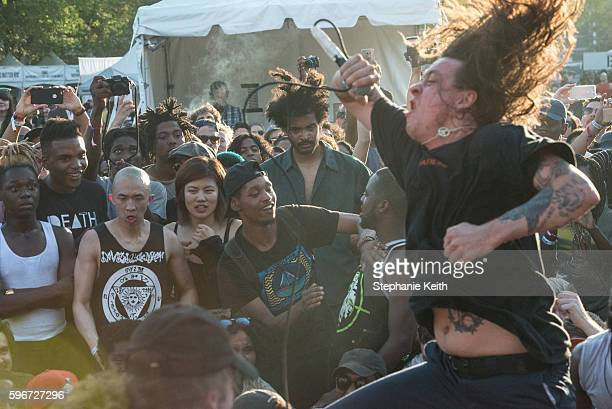 A punk band called Trash Talk performs during the annual Afropunk Music festival on August 27 2016 in New York City
